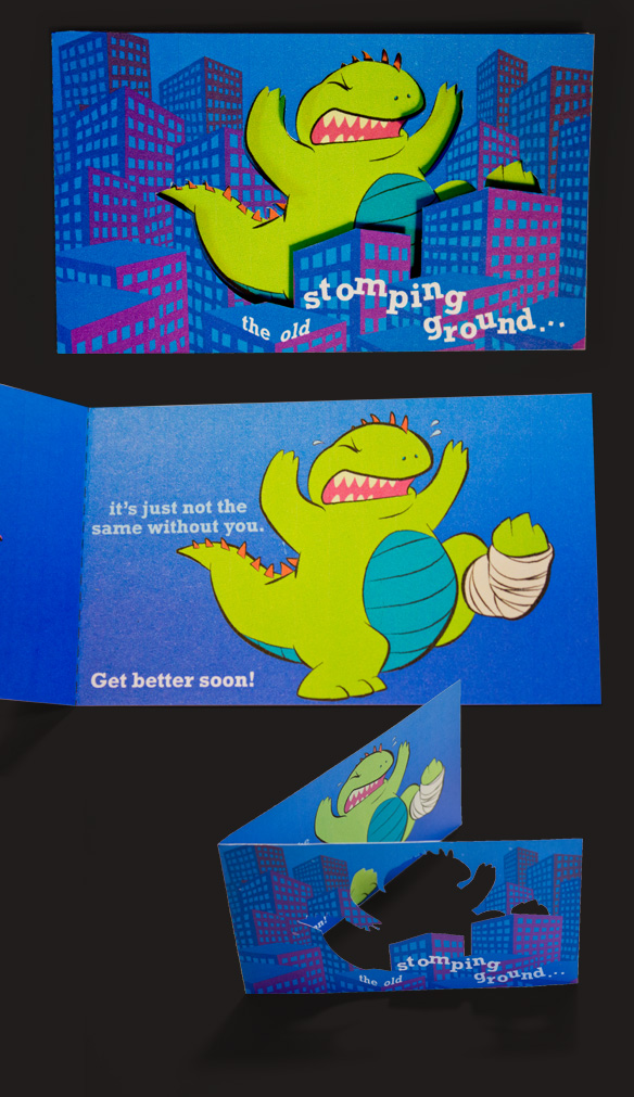 Baby Godzilla; Get better soon, diecut greeting card