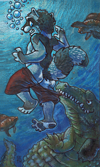 illustration of a raccoon running into some trouble with an alligator