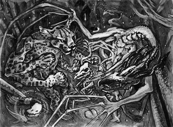 illustration of two multi-limbed creatures raising a deer skeleton